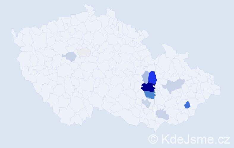 Příjmení: 'Huzlíková', počet výskytů 34 v celé ČR