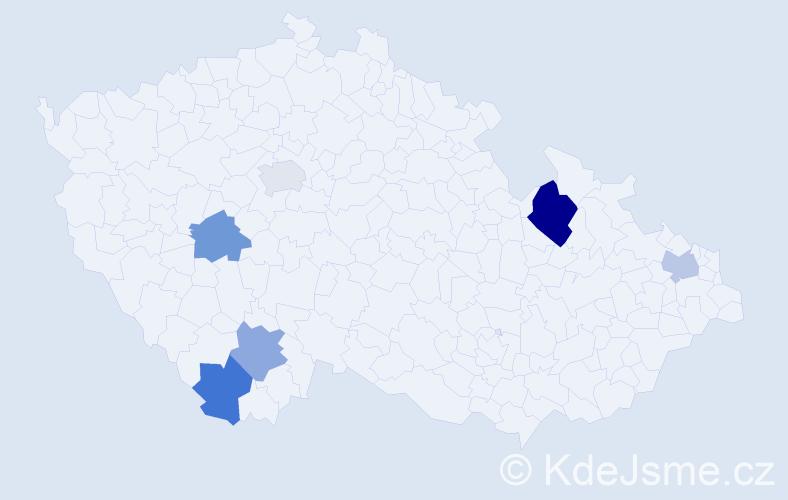 Příjmení: 'Fábián', počet výskytů 8 v celé ČR