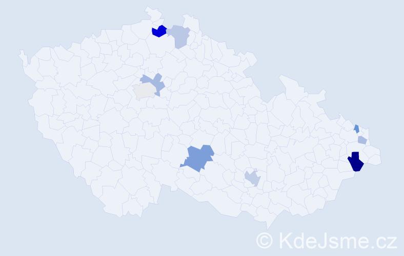 Příjmení: 'Kaličiaková', počet výskytů 13 v celé ČR