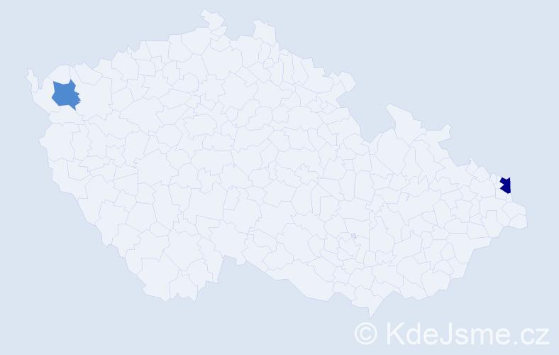 Příjmení: 'Debreceniová', počet výskytů 3 v celé ČR