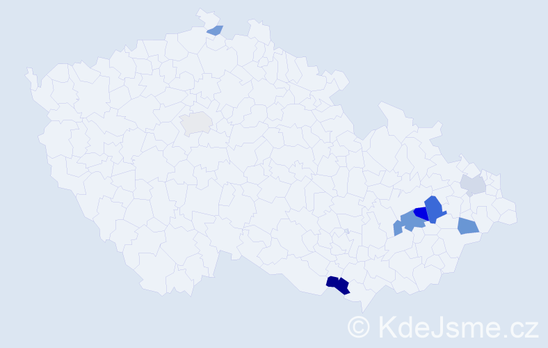 Příjmení: 'Gaďourková', počet výskytů 19 v celé ČR
