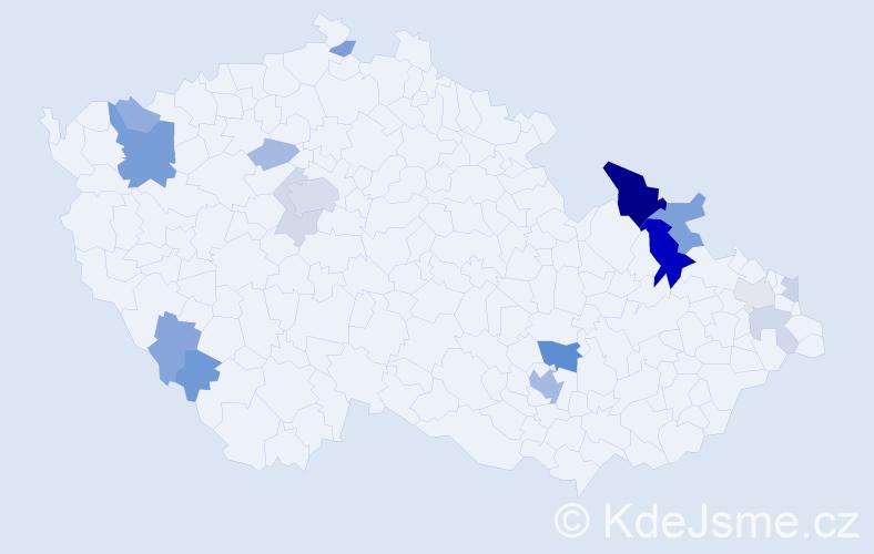Příjmení: 'Dekanová', počet výskytů 44 v celé ČR