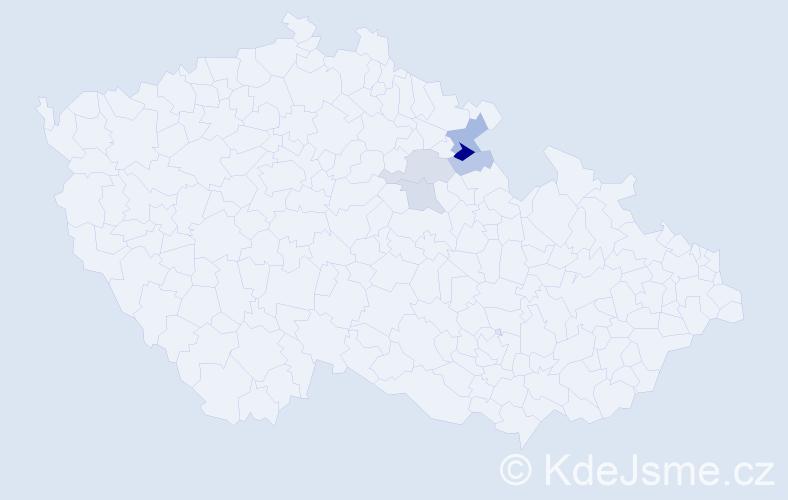 Příjmení: 'Knoulich', počet výskytů 15 v celé ČR