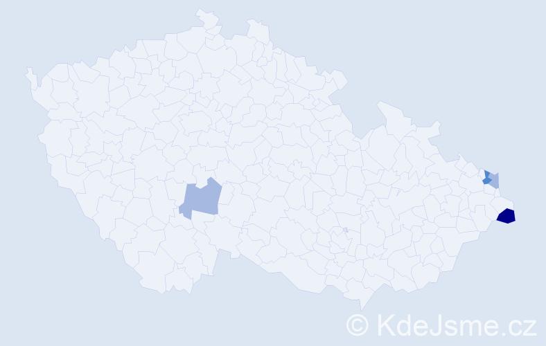 Příjmení: 'Hedera', počet výskytů 6 v celé ČR