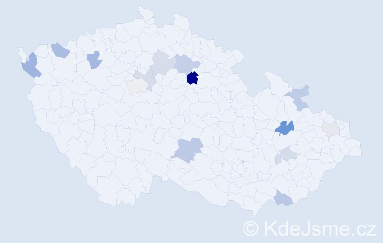 Příjmení: 'Arvay', počet výskytů 20 v celé ČR