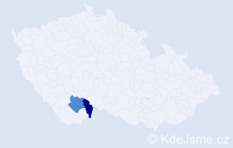 Příjmení: 'Kačány', počet výskytů 3 v celé ČR