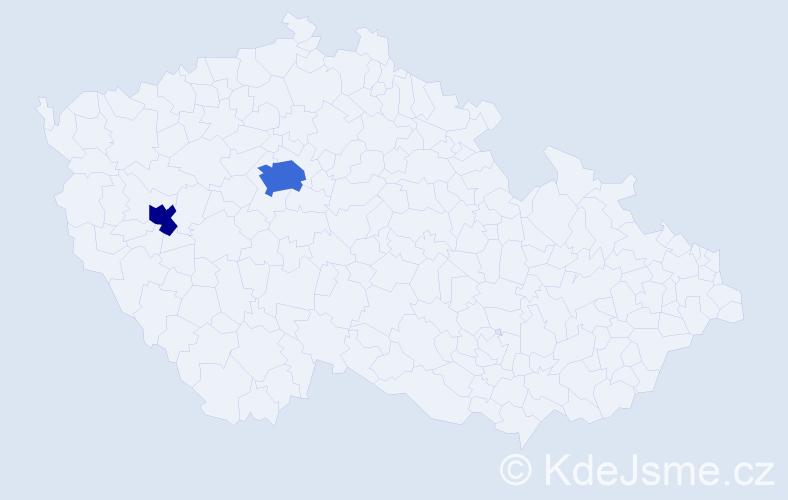 Příjmení: 'Chůra', počet výskytů 4 v celé ČR