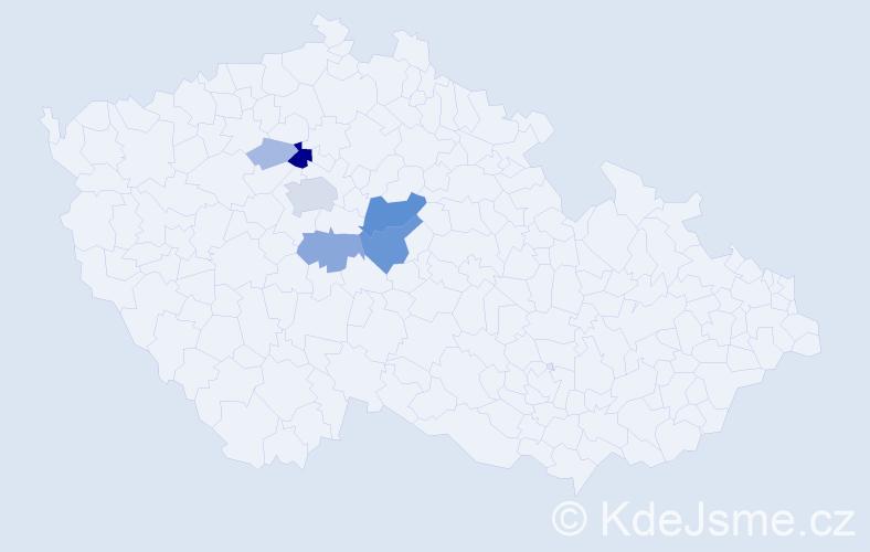 Příjmení: 'Janůrková', počet výskytů 22 v celé ČR