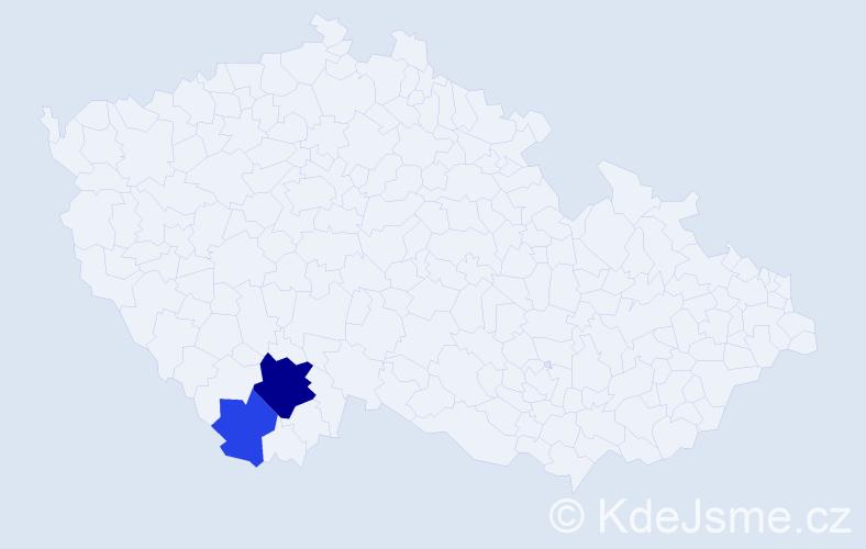 Příjmení: 'Klivanda', počet výskytů 5 v celé ČR