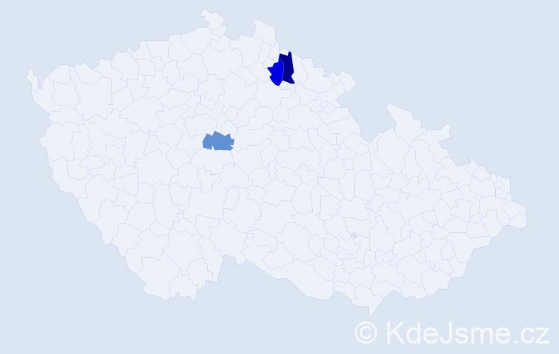 Příjmení: 'Camplík', počet výskytů 3 v celé ČR