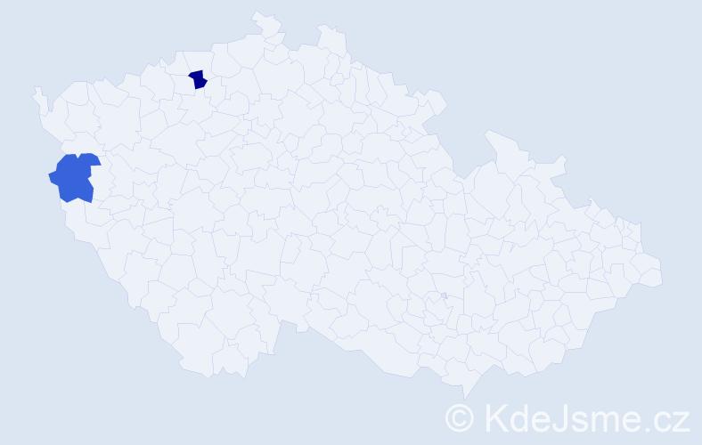 Příjmení: 'Ahosta', počet výskytů 4 v celé ČR