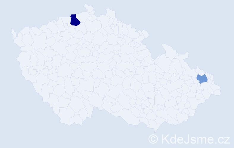 Příjmení: 'Bunciková', počet výskytů 7 v celé ČR
