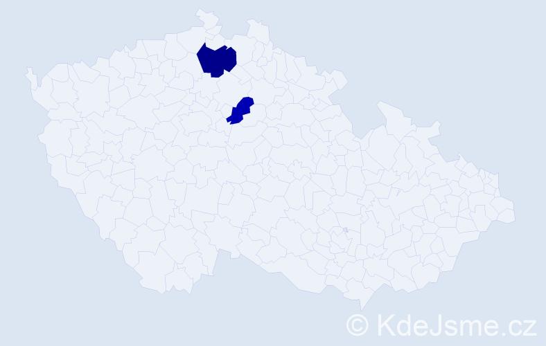 Příjmení: 'Eliová', počet výskytů 3 v celé ČR
