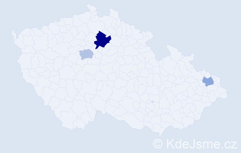 Příjmení: 'Draková', počet výskytů 5 v celé ČR