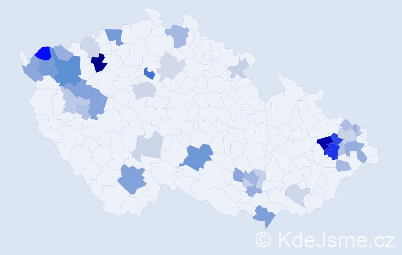 Příjmení: 'Červencová', počet výskytů 98 v celé ČR