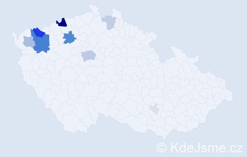 Příjmení: 'Fikrt', počet výskytů 22 v celé ČR