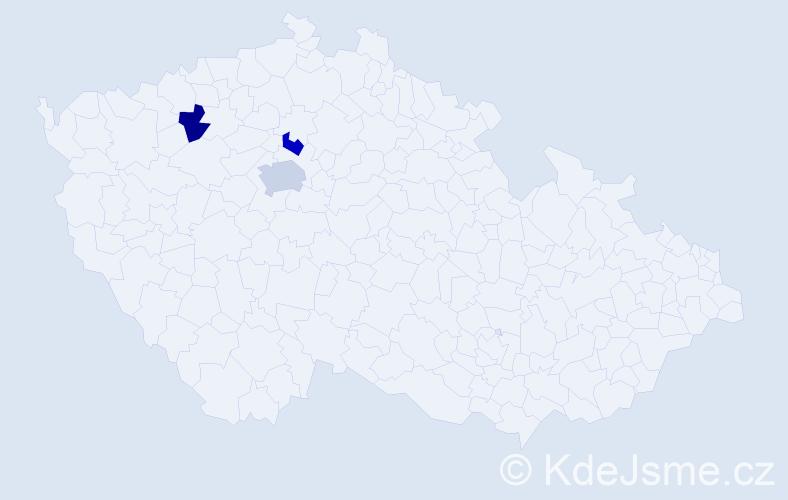 Příjmení: 'Čichna', počet výskytů 4 v celé ČR