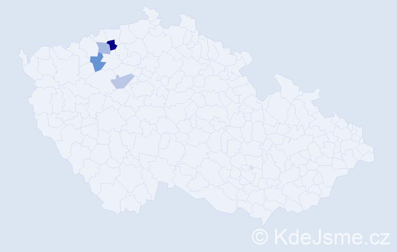 Příjmení: 'Hänelová', počet výskytů 5 v celé ČR