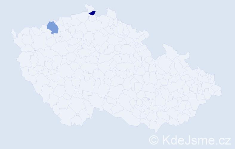Příjmení: 'Hnáta', počet výskytů 2 v celé ČR
