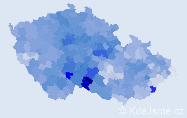 Příjmení: 'Novák', počet výskytů 34187 v celé ČR
