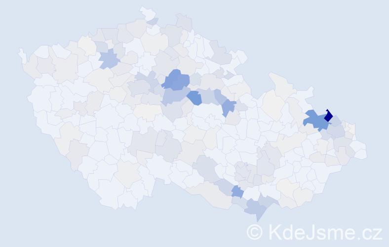 Příjmení: 'Kurka', počet výskytů 950 v celé ČR