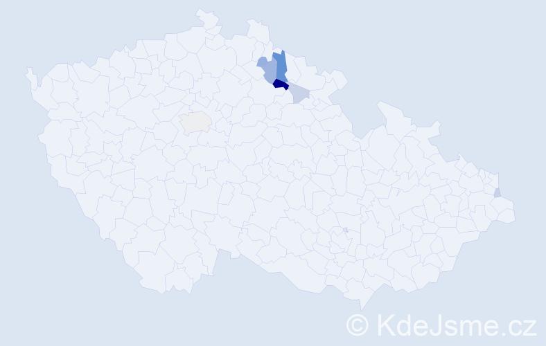 Příjmení: 'Čmuchal', počet výskytů 17 v celé ČR