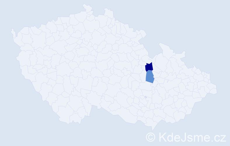 """Příjmení: '""""Cinová-Šiváková""""', počet výskytů 3 v celé ČR"""