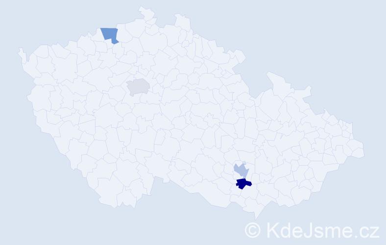 Příjmení: 'Ako', počet výskytů 8 v celé ČR