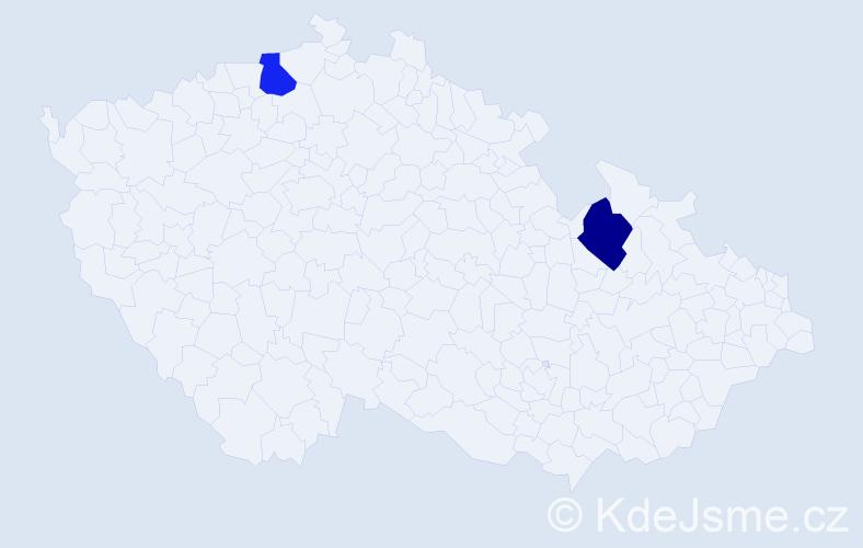 Příjmení: 'Féllingerová', počet výskytů 2 v celé ČR