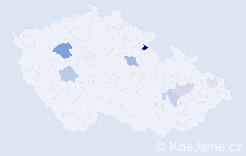 Příjmení: 'Hlávek', počet výskytů 11 v celé ČR